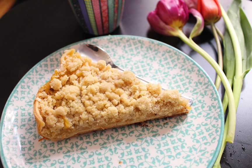 Tarte crumble au pudding pommes vanille