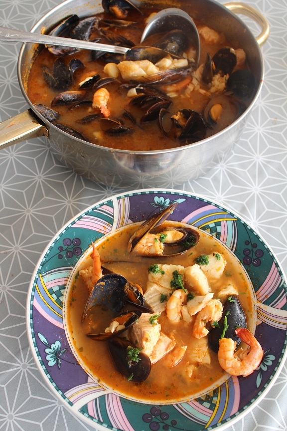 Soupe de poissons et crustacés