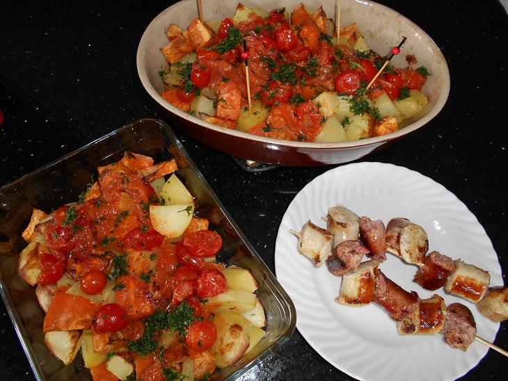 Patatas Bravas bicolores (pomme de terre et patate douce)